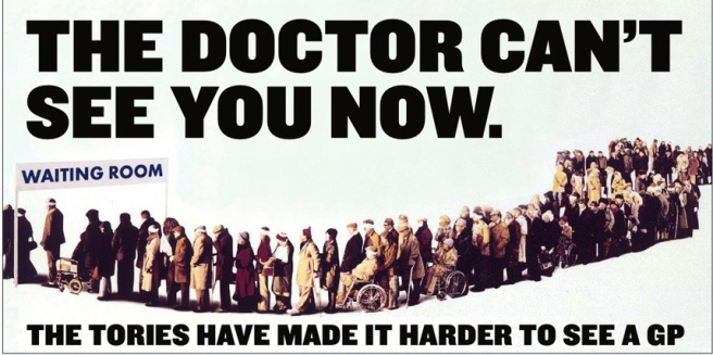 Labour's campaign poster on the NHS
